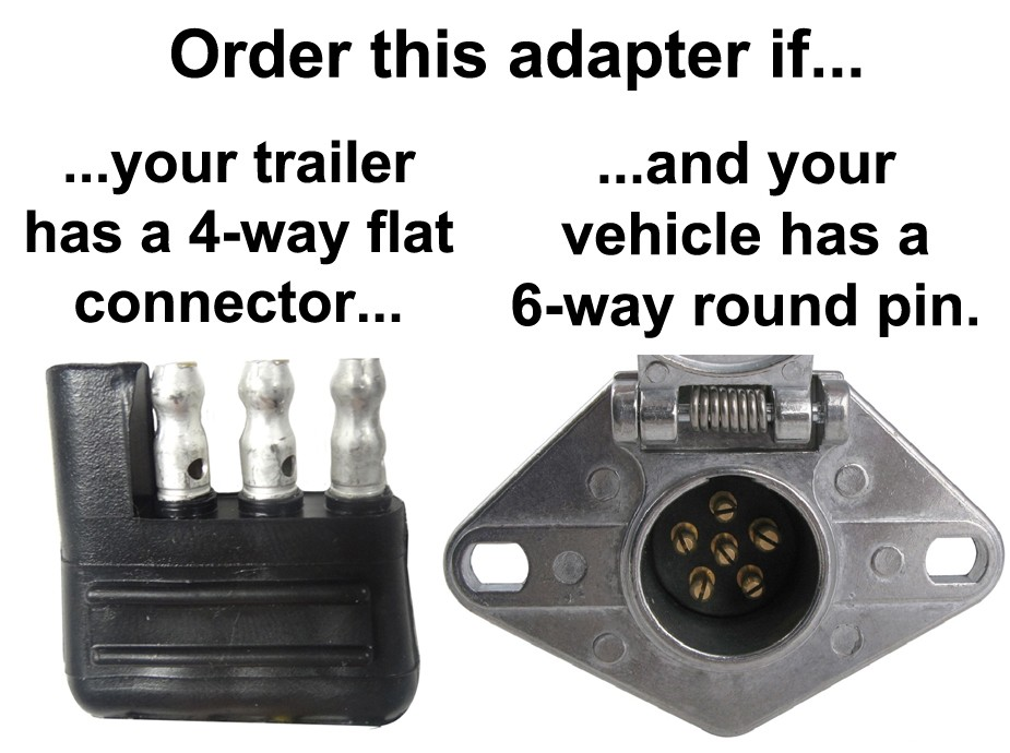 6-way Round Pin To 4-way Flat Connector Adapter