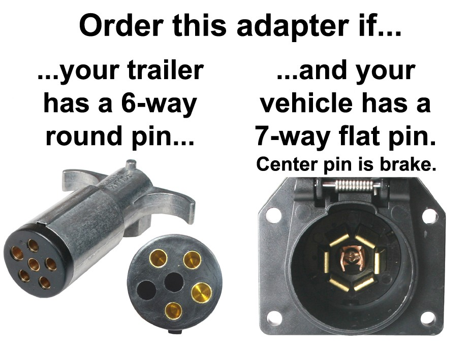 7-way Flat Pin To 6-way Round Pin Connector Adapter - Center Pin Is Brake - Adapters