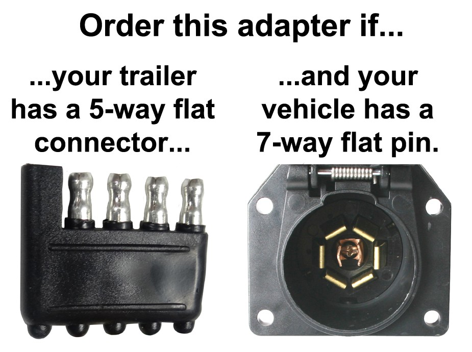 7-way Flat Pin To 5-way Flat Connector Adapter - Center Pin Is Backup - Adapters