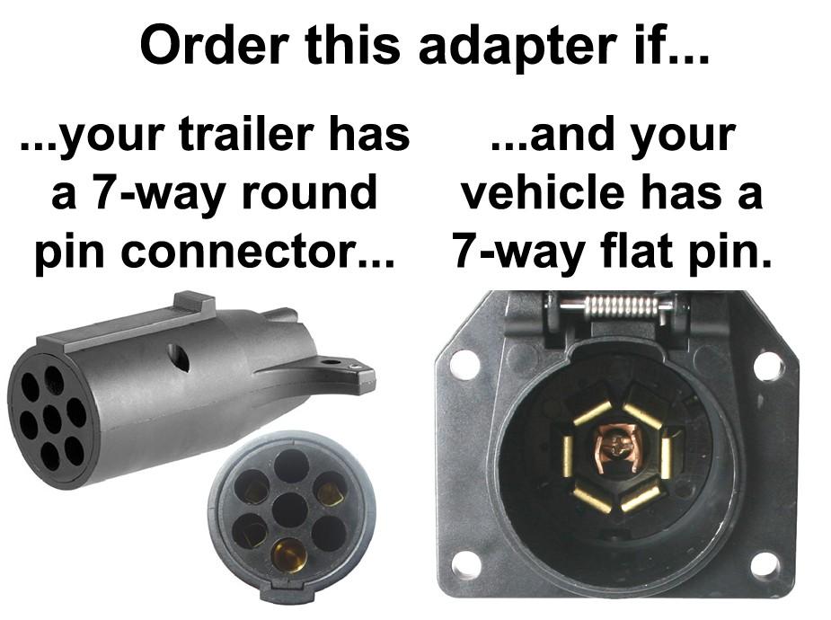 7-way Flat Pin To 7-way Round Pin Connector Adapter - Adapters