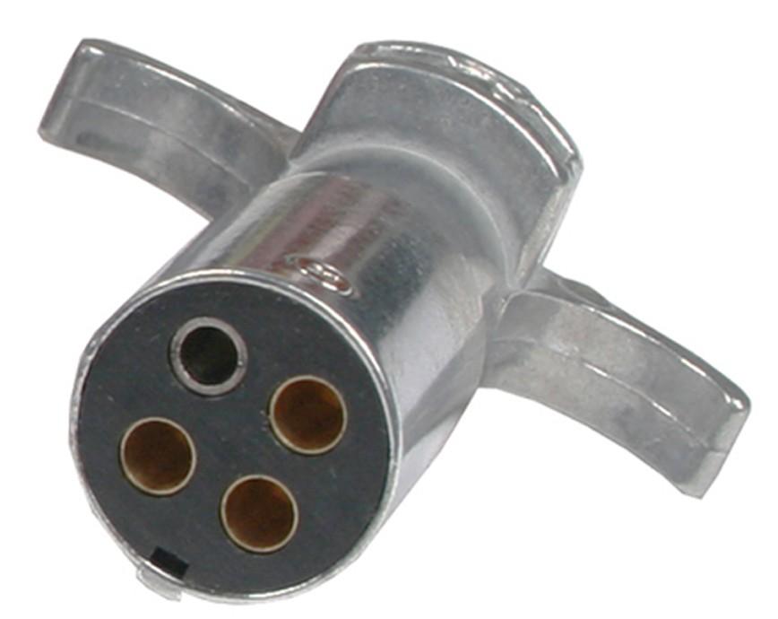 4-way Round Metal Trailer Wiring Connector - Trailer End - Connectors