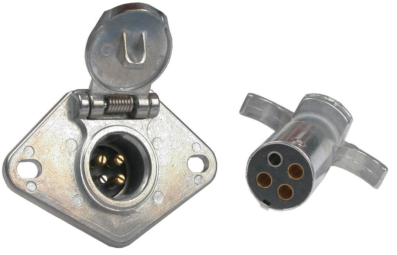 4-way Round Metal Trailer Wiring Connector Set - Connectors