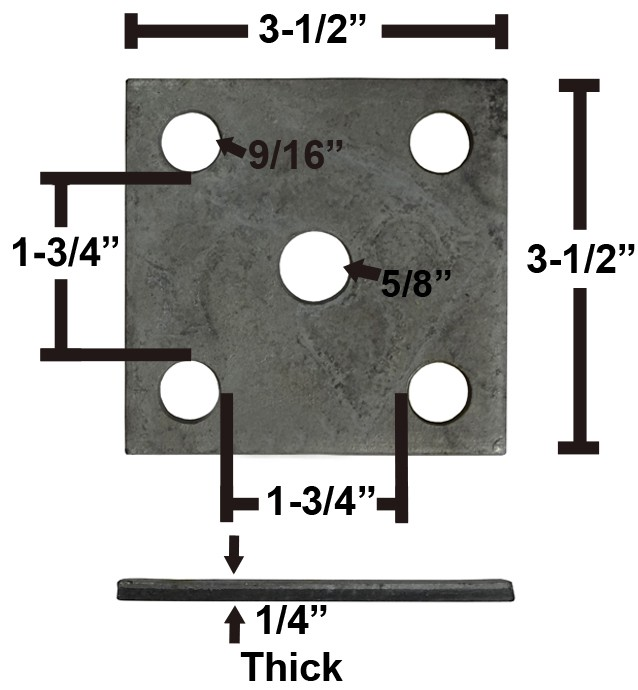 "Galvanized Axle Tie Plate for 1 3/4"" Axle and 1 3/4"" Spring"