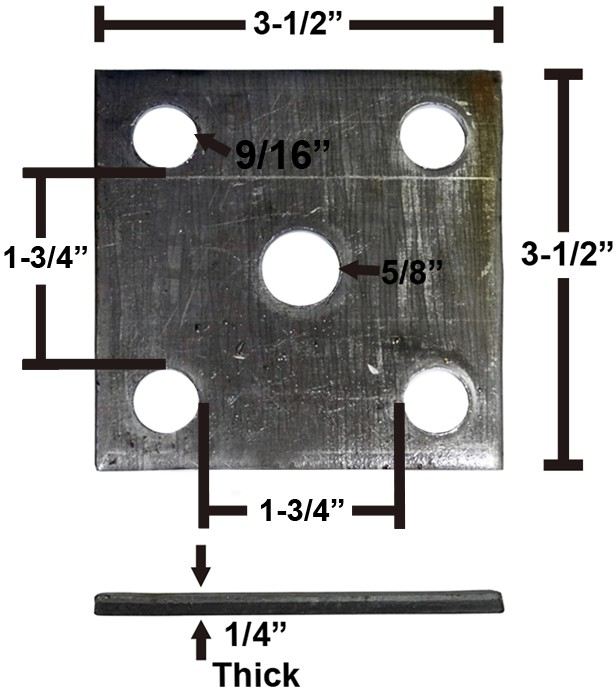 "Oiled Axle Tie Plate for 1 3/4"" Axle and 1 3/4"" Spring"