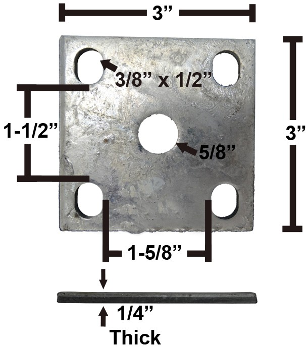 "Galvanized Axle Tie Plate for 1 1/2"" Axle and 1 3/4"" Spring"