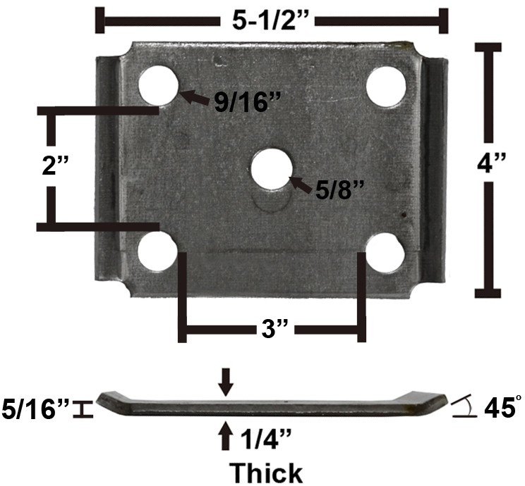"""Oiled Axle Tie Plate with Bent Ends for 3"""" Axle and 2"""" Spring"""