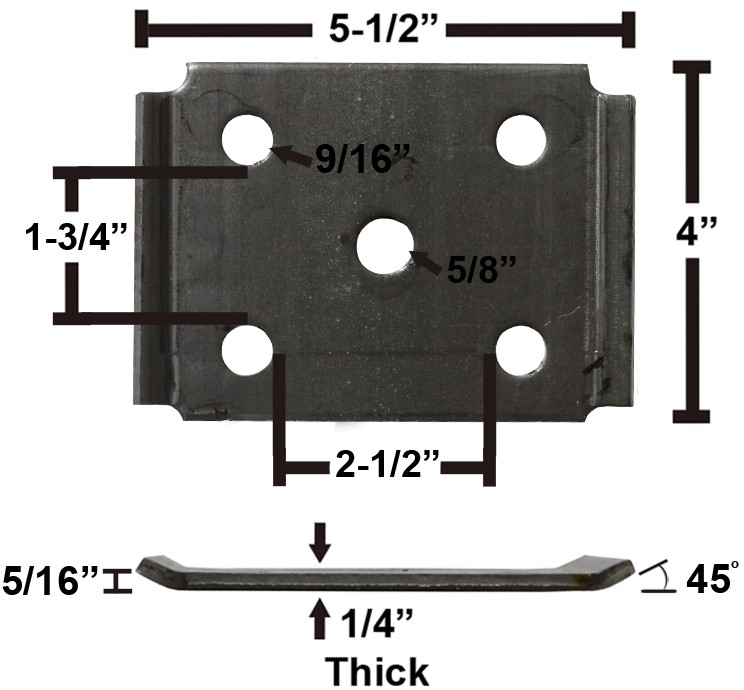 """Oiled Axle Tie Plate with Bent Ends for 2 3/8"""" Axle and 1 3/4"""" Spring"""
