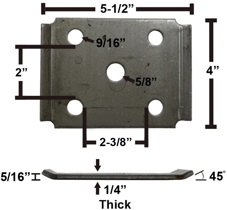 "Oiled Axle Tie Plate with Bent Ends for 2 3/8"" Axle and 2"" Spring"