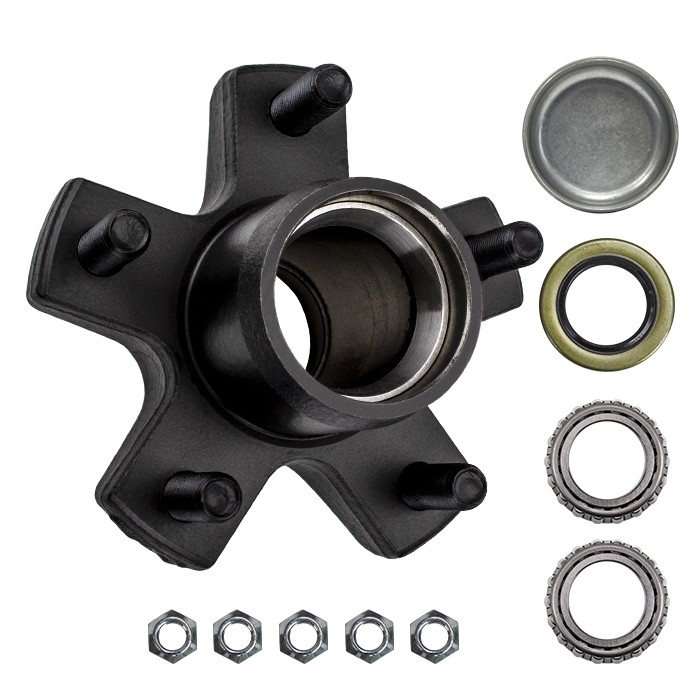 """5 Bolt on 4 1/2"""" Trailer Hub with 1 1/16"""" Bearings (L44649)"""