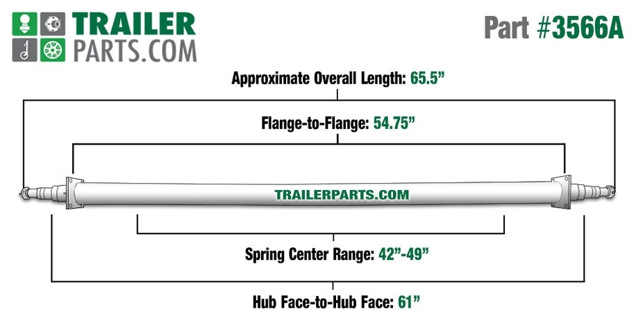 "Painted 2 3/8"" Round Trailer Axle - 3,500 lbs. Capacity with 1 3/8"" x 1 1/16"" Spindles - 61"" Hub Face"