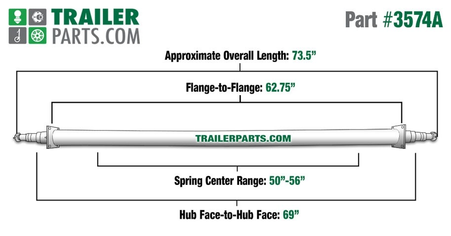 "Painted 2 3/8"" Round Trailer Axle - 3,500 lbs. Capacity with 1 3/8"" x 1 1/16"" Spindles - 69"" Hub Face"