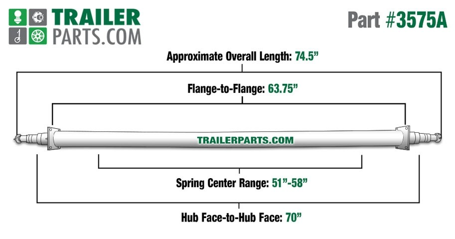 "Painted 2 3/8"" Round Trailer Axle - 3,500 lbs. Capacity with 1 3/8"" x 1 1/16"" Spindles - 70"" Hub Face"
