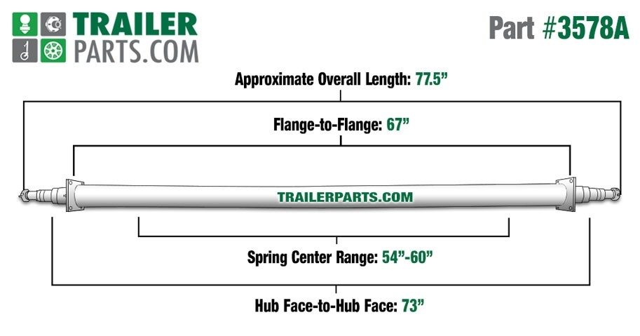 "Painted 2 3/8"" Round Trailer Axle - 3,500 lbs. Capacity with 1 3/8"" x 1 1/16"" Spindles - 73"" Hub Face"