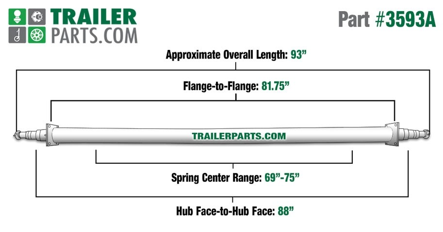 "Painted 2 3/8"" Round Trailer Axle - 3,500 lbs. Capacity with 1 3/8"" x 1 1/16"" Spindles - 88"" Hub Face"