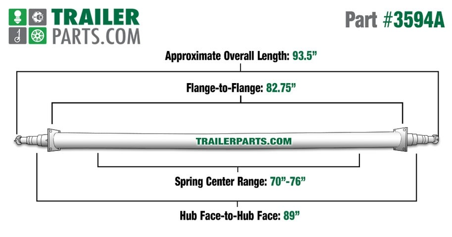 "Painted 2 3/8"" Round Trailer Axle - 3,500 lbs. Capacity with 1 3/8"" x 1 1/16"" Spindles - 89"" Hub Face"