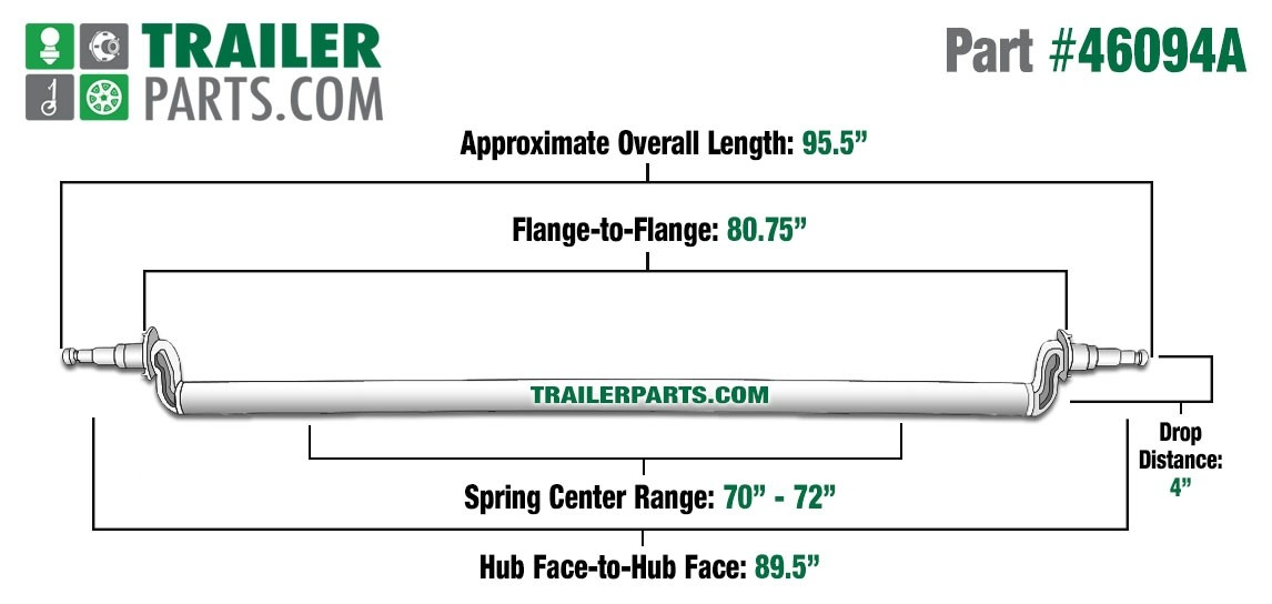 """Painted 3"""" Round Trailer Axle - 6,000 lbs. Capacity with 1 3/4"""" x 1 1/4"""" Spindles - 4"""" Drop - 89.5"""" Hub Face"""