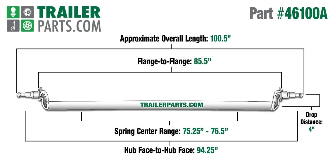 """Painted 3"""" Round Trailer Axle - 6,000 lbs. Capacity with 1 3/4"""" x 1 1/4"""" Spindles - 4"""" Drop - 94.25"""" Hub Face"""