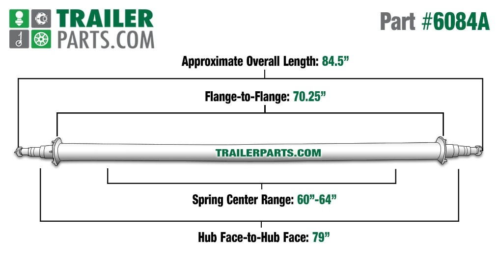 "Painted 3"" Round Trailer Axle - 6,000 lbs. Capacity with 1 3/4"" x 1 1/4"" Spindles - 79"" Hub Face"