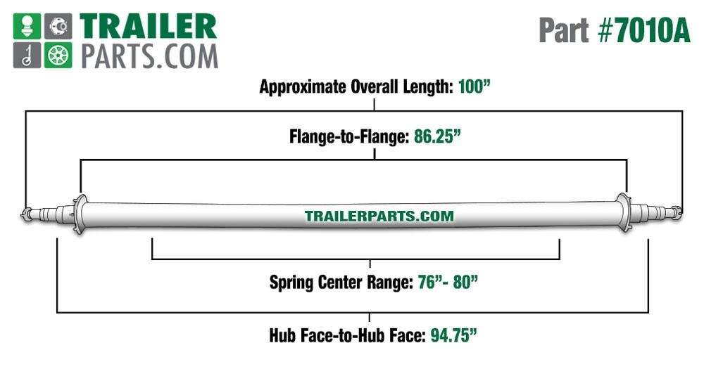 "Painted 3"" Round Trailer Axle - 7,000 lbs. Capacity with 1 3/4"" x 1 1/4"" Spindles - 94.75"" Hub Face"