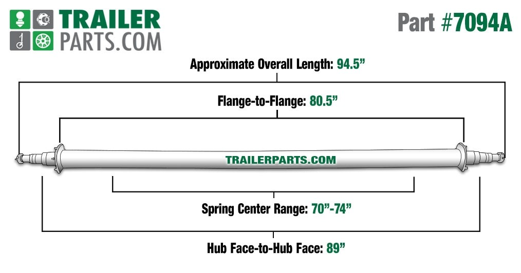 """Painted 3"""" Round Trailer Axle - 7,000 lbs. Capacity with 1 3/4"""" x 1 1/4"""" Spindles - 89"""" Hub Face"""