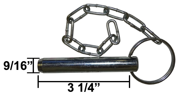 """9/16"""" x 3"""" Trailer Jack Pin with Chain"""