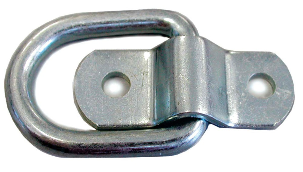 Recessed Rope Ring, 1,200 lbs., 10 Ga. Steel D-Ring, .225 Dia., Zinc