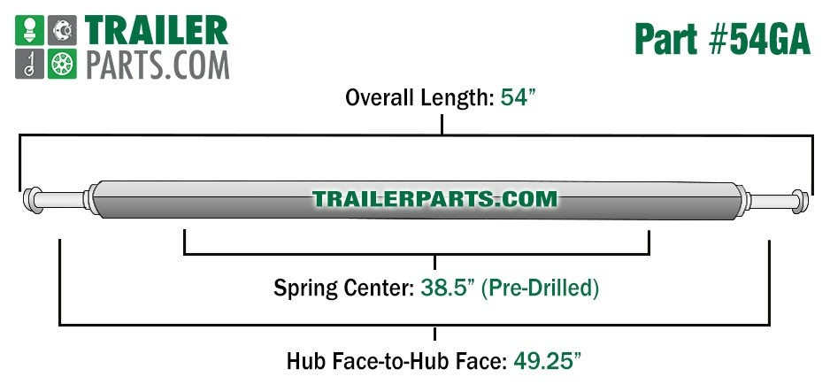 """Galvanized 1.5"""" Square Trailer Axle - 1,200 lbs. Capacity with 1 1/16"""" Spindles - 49.25"""" Hub Face"""