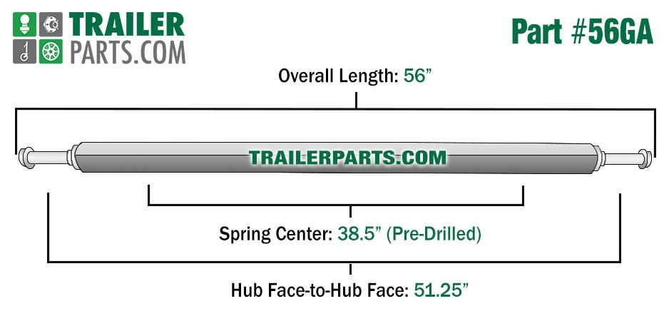 "Galvanized 1.5"" Square Trailer Axle - 1,200 lbs. Capacity with 1 1/16"" Spindles - 51.25"" Hub Face"