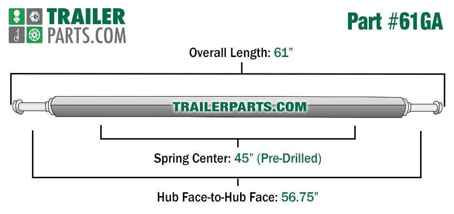 "Galvanized 1.5"" Square Trailer Axle - 2,000 lbs. Capacity with 1 1/16"" Spindles - 56.75"" Hub Face"
