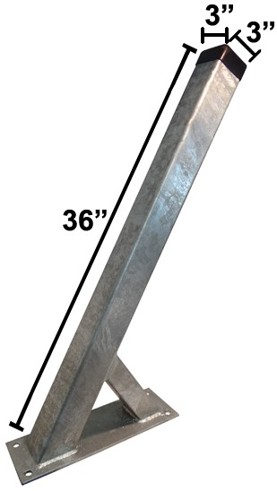 """3"""" x 3"""" x 36"""" Galvanized Winchpost - Fits 3"""" Tongue"""
