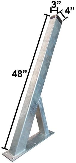 "3"" x 4"" x 48"" Galvanized Winchpost - Fits 3"" x 4"" Tongue"