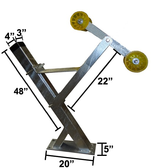 "3"" x 4"" x 48"" Galvanized Winchpost Assembly - Fits 3"" x 4"" Tongue - Will Accept Powerwinch®"