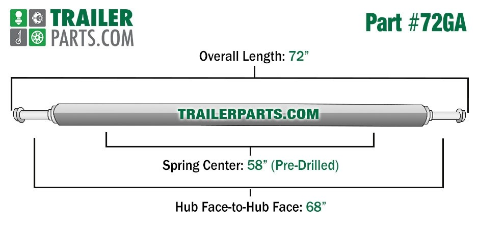 "Galvanized 1.5"" Square Trailer Axle - 2,000 lbs. Capacity with 1 1/16"" Spindles - 68"" Hub Face"