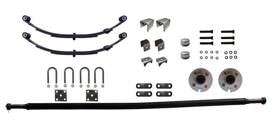 "2,000 lb. Capacity Complete Axle Kit - 4-Bolt Hubs - 65"" Hub Face - Fits 51"" to 57"" Wide Trailer Frame"