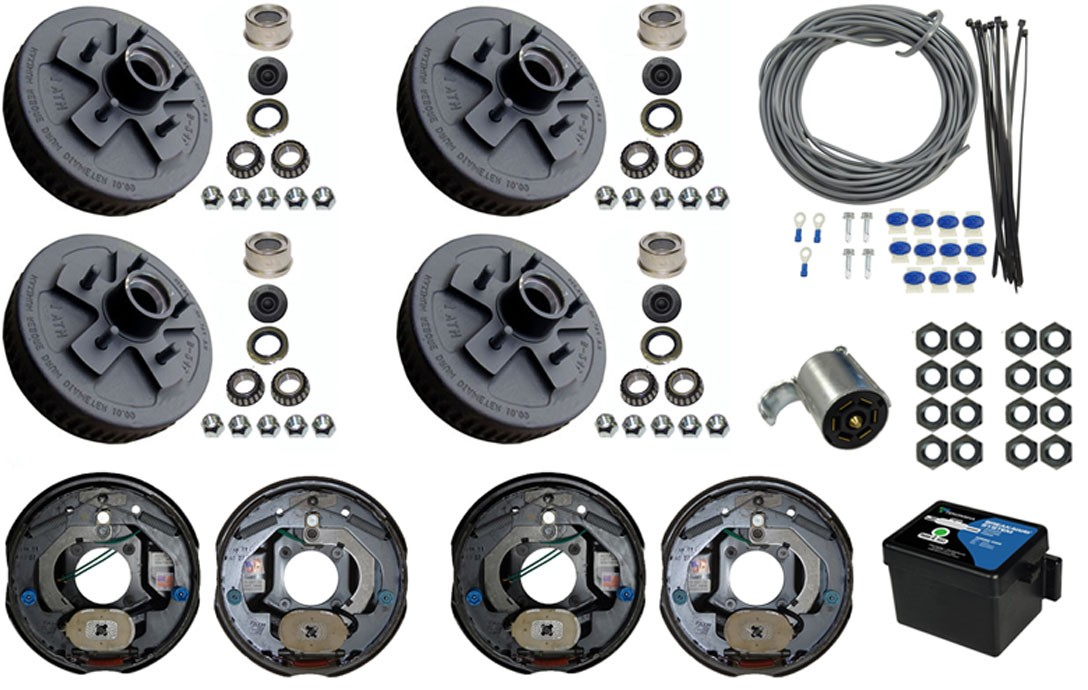 Tandem Axle Electric Brake Kit 10 5 Bolt Drum Brakes With Wire Breakaway And Plug 7 000 Lbs