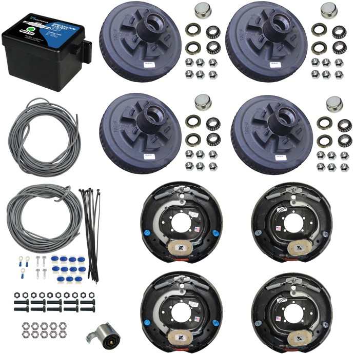 "Tandem Axle Electric Brake Kit -  12"" 6-Bolt Drum Brakes with Wire, Breakway Kit, and Plug - 14,000 lbs."
