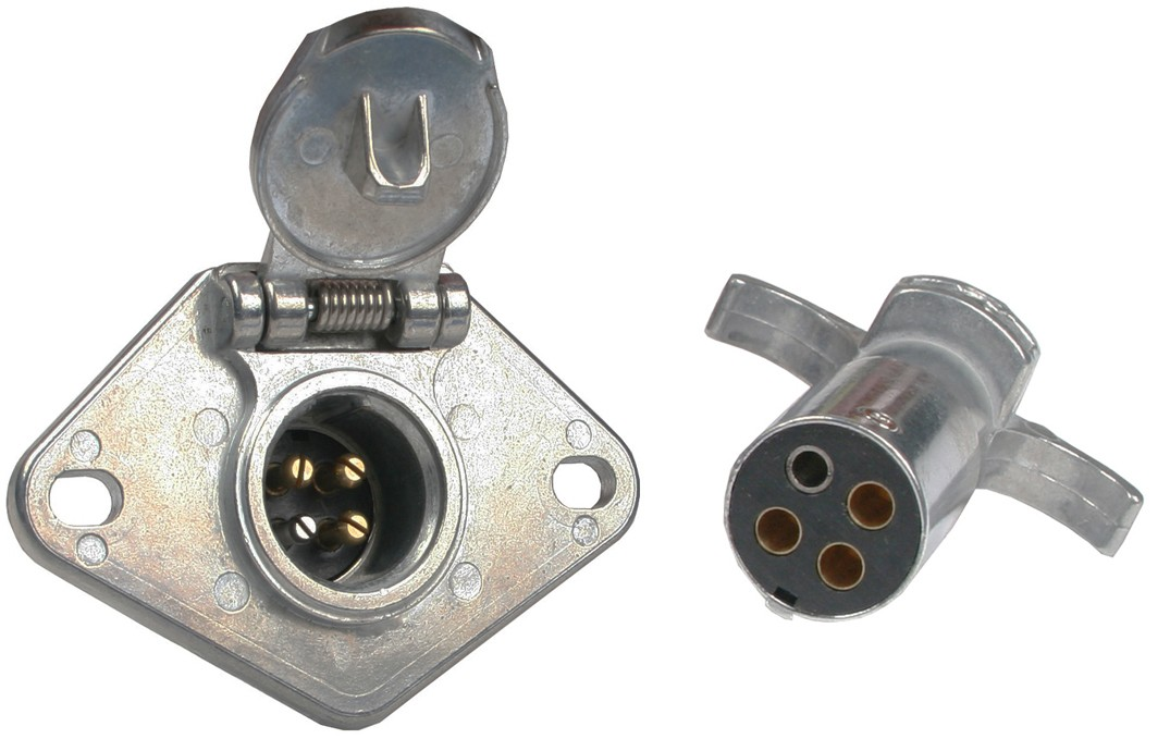 4-Way Round Metal Trailer Wiring Connector Set - Connectors - Wiring ...