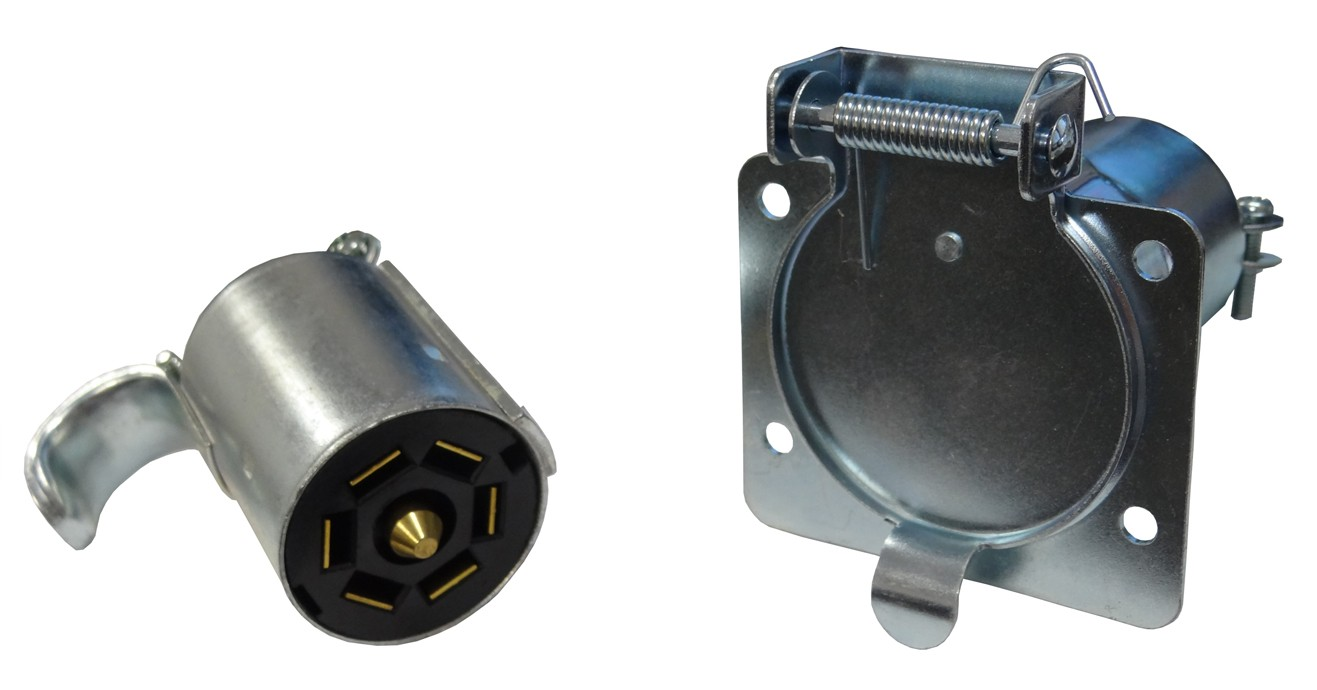 7 Way Rv Style Metal Trailer Wiring Connector Set Connectors On Electrical Connections Are Used