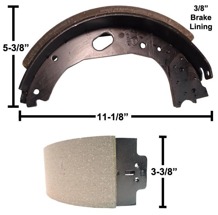 """Dexter® Brake Shoe and Lining Kit for 12 1/4"""" x 3 3/8"""" Stamped Backing Plate Electric Brake - Left Hand (Driver's Side) - 8,000 to 10,000 lbs. GD"""
