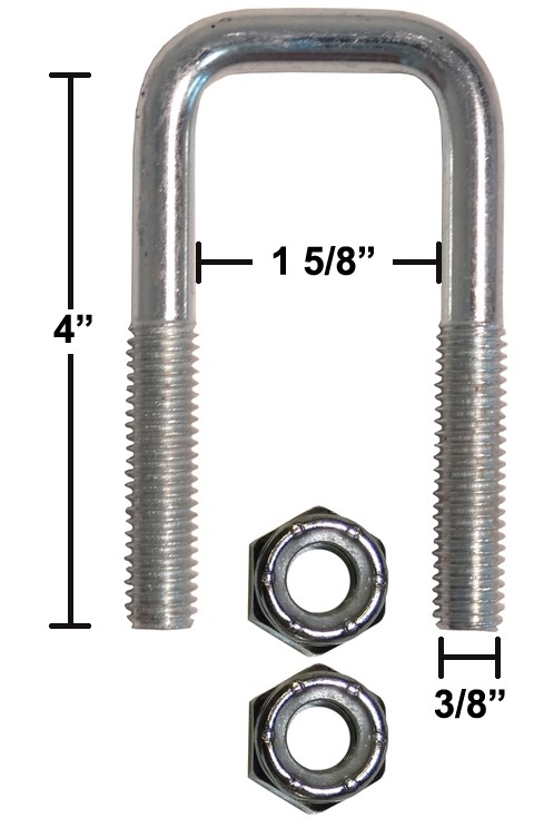 """5 Pack 3//8/"""" by 3-5//8 in L Coarse Zinc-Plated Steel Square U-Bolt NEW W x 4 in"""