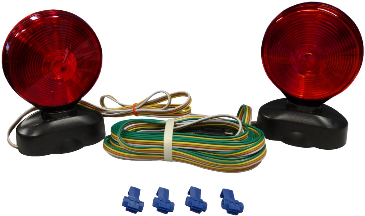 Auxiliary Tow Light Kit With Two Double Face Incandescent Red Amber Trailer Harness Stop Tail And Turn Lights Magnetic Base Trunk Connector 20
