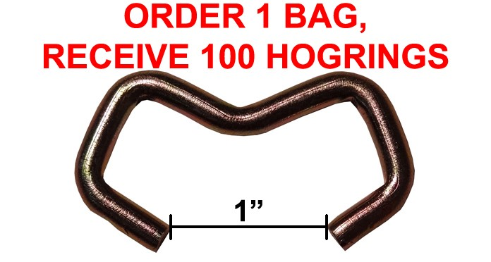 "Quantity of 100 ""E"" Shape Hogrings - 1"" Opening"