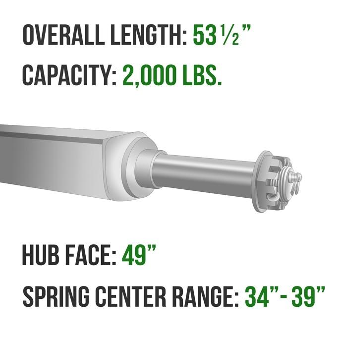 """#49539 TIEDOWN 59/"""" Square Galvanized Trailer Axle 2000 lb."""