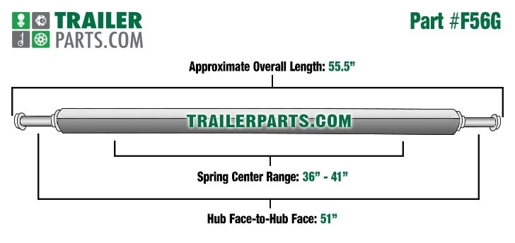 "Galvanized 2"" Square Trailer Axle - 2,000 lbs. Capacity with 1 1/16"" Spindles - 51"" Hub Face"