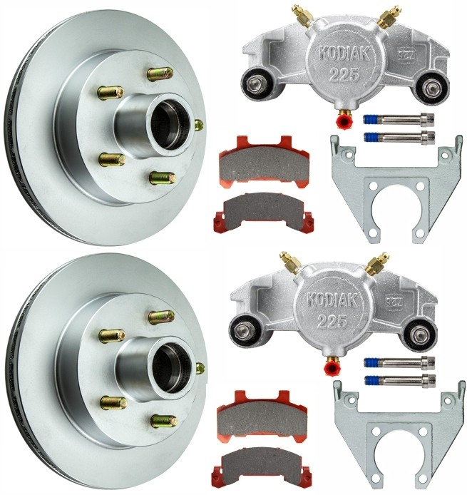 "Kodiak 10"" Integral Hub/Rotor Single Axle Disc Brake Kit - 5 on 4 1/2"" - Dacromet Coated Calipers"