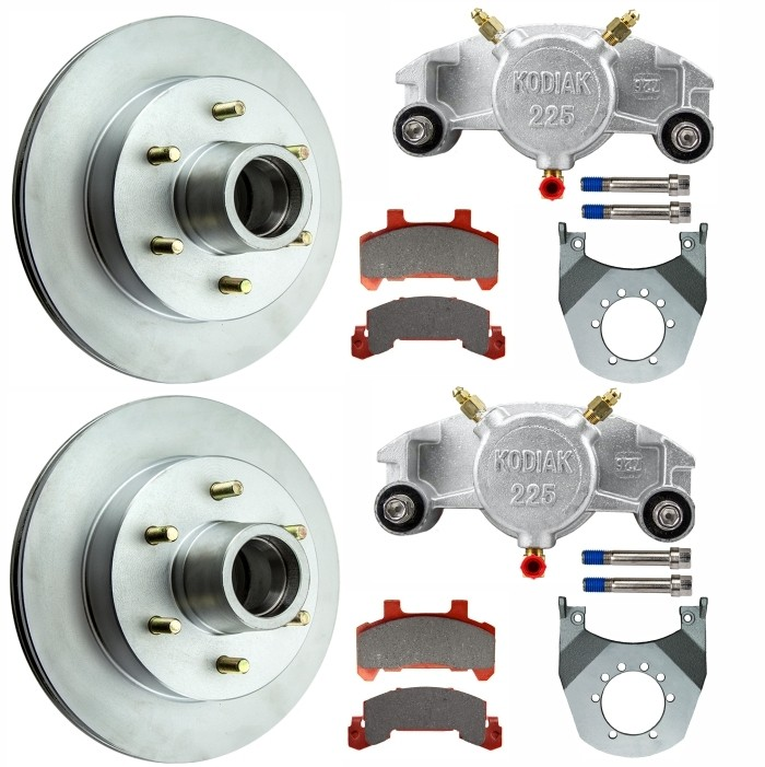 "Kodiak 12"" Integral Hub/Rotor Single Axle Disc Brake Kit - 6 on 5/12"" - Dacromet Coated Calipers"