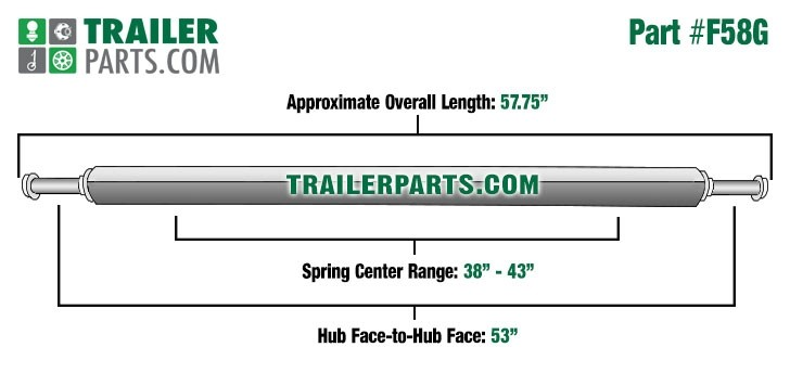 """Galvanized 2"""" Square Trailer Axle - 2,000 lbs. Capacity with 1 1/16"""" Spindles - 53"""" Hub Face"""