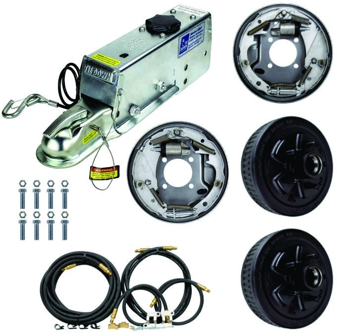 """Single Axle Hydraulic Brake Kit -  10"""" 5-Bolt Drum Brakes with Actuator and Flexible Lines - 3,500 lbs."""