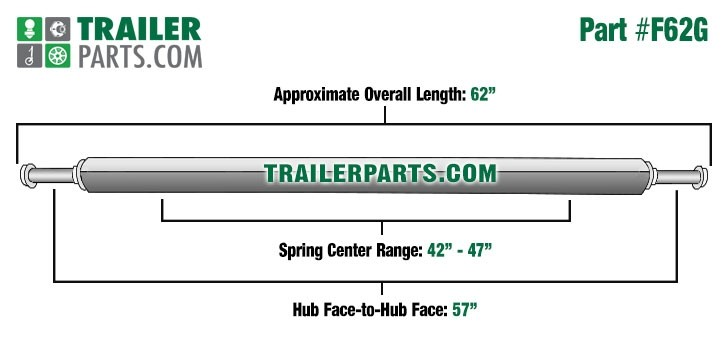 """Galvanized 2"""" Square Trailer Axle - 2,000 lbs. Capacity with 1 1/16"""" Spindles - 57"""" Hub Face"""