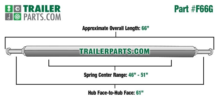"""Galvanized 2"""" Square Trailer Axle - 2,000 lbs. Capacity with 1 1/16"""" Spindles - 61"""" Hub Face"""